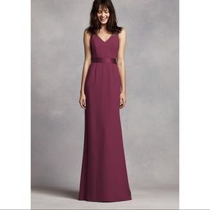 Long V Neck Crepe Gown with open back. WINE COLOR